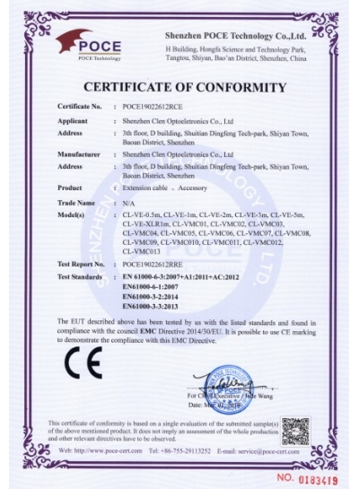 Cables CE certifications